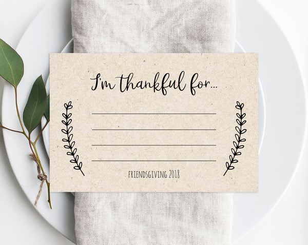 Friendsgiving Printable Template, I'm Thankful For Notes, Thanksgiving Card, Printable Friendsgiving Potluck, Friendsgiving Dinner, Templett