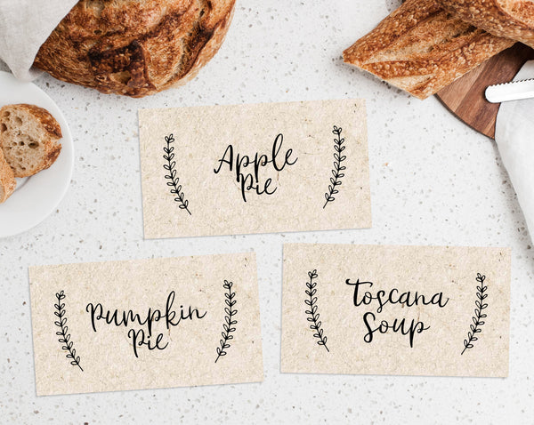 Printable Thanksgiving Food Labels Template, Thanksgiving Food Tent Cards, Friendsgiving Food Labels, Friendsgiving Food Signs, Templett