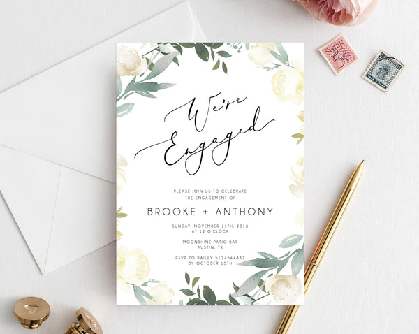 Floral Engagement Party Invitation Template, Printable Engagement Invitation, Engagement Invite, Editable Template, Templett, W21
