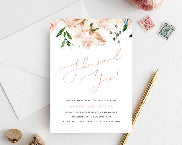 Blush Engagement Party Invitation Template, Printable Engagement Invitation, Floral Engagement Invite, Editable Template, Templett, W22