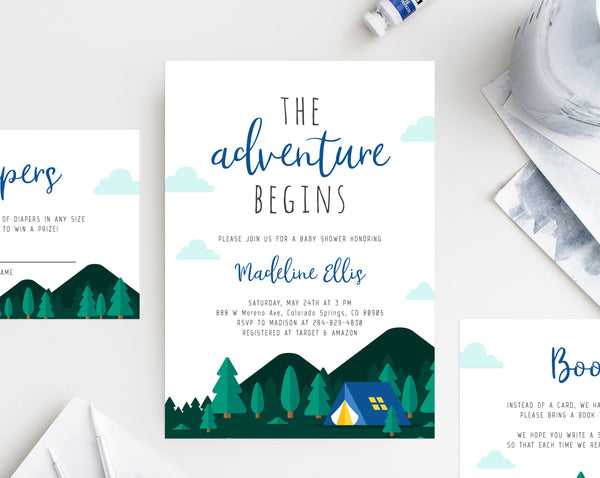 Adventure Begins Baby Shower Invitation Template, Printable Camping Baby Shower, Editable Adventure Baby Shower Invite, Templett, B06