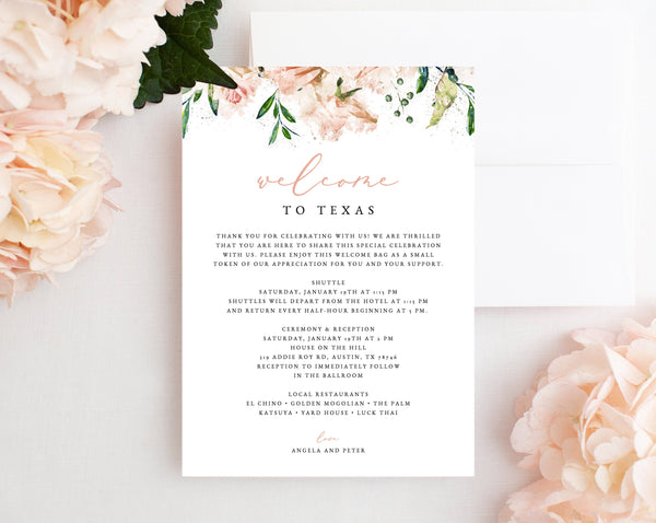 Welcome Letter Template, Wedding Itinerary Card, Blush Welcome Bag Letter, Wedding Agenda, Printable Hotel Welcome Note, Templett, W22