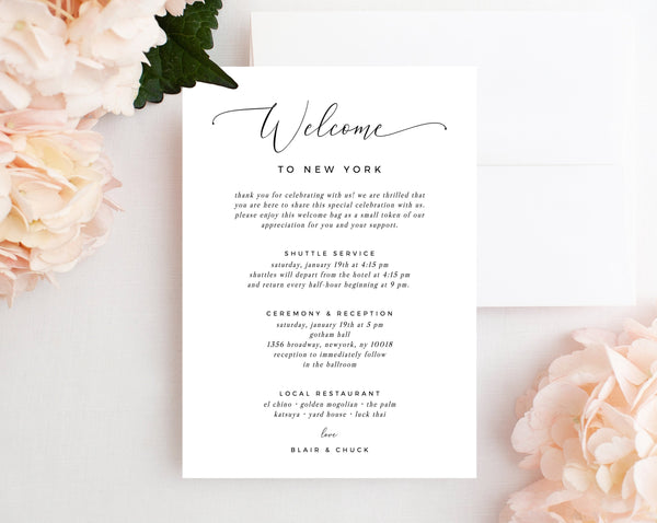 Welcome Letter Template, Wedding Itinerary Card, Welcome Bag Letter, Wedding Agenda, Printable Hotel Welcome Note, Templett, W15