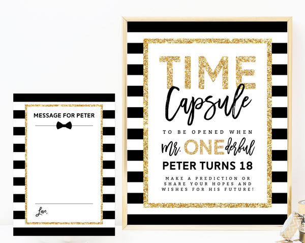 Mr. Onederful Time Capsule Sign Template, Printable Time Capsule, Editable First Birthday Time Capsule With Matching Cards, Templett, B02