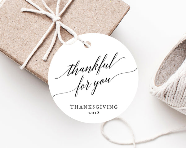Printable Thanksgiving Favor Tag Template, Friendsgiving Favor Tag, Thanksgiving Gift Tag, Thankful For You Label, Favor Label, Templett