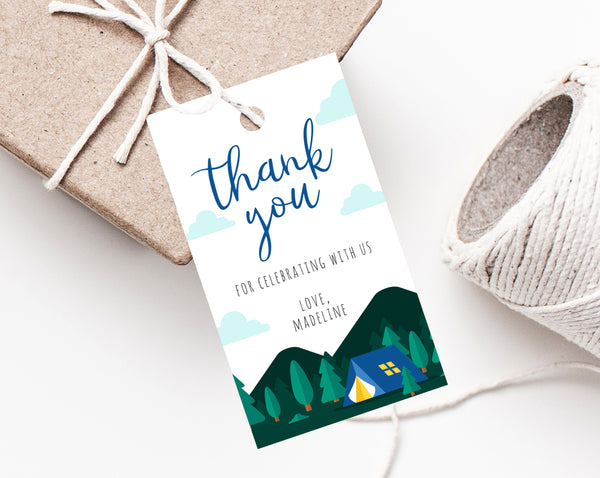 Camping Themed Favor Tags, Thank You Tag, Adventure Baby Shower Favor Tag, Baby Shower Gift Tag, Favor Label Printable, Templett, B06