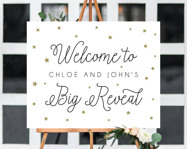 Little Star Gender Reveal Party Welcome Sign, Printable Gender Reveal Welcome Sign, Twinkle Twinkle Little Star Gender Reveal, Templett, B07