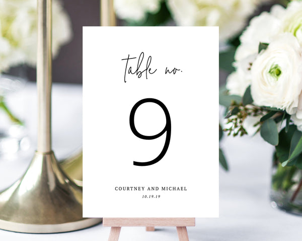 Wedding Table Numbers Template, Printable Wedding Table Numbers, Simple Table Number Card Template, DIY, Templett, W13