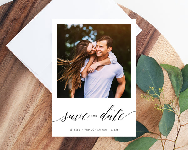 Photo Save the Date Template, Save the Date with Pictures Template, Engagement Photo Save the Date Card, Templett, W02 W08