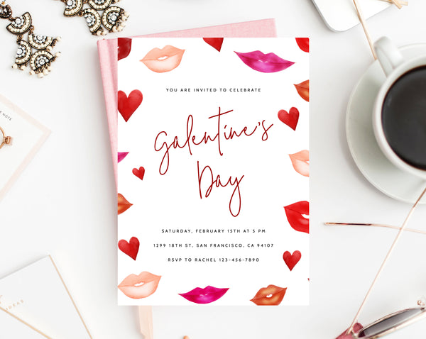 Galentine's Day Invite Template, Printable Galentines Party Invitation, Girl Friends Valentine's Day Party, Instant Download,  Templett