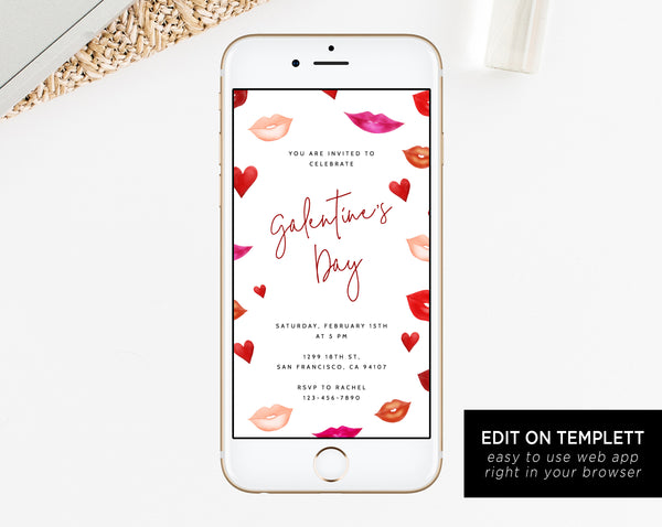 Galentine's Day Electronic Invitation Template, Mobile Galentines Party Invite, Valentines Phone Invitation, Editable Phone Invite, Templett