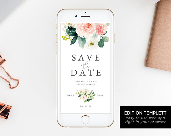 Blush Floral Electronic Save the Date Template, Mobile Save the Date, Phone Invite, Phone Save the Date, Editable Template, Templett