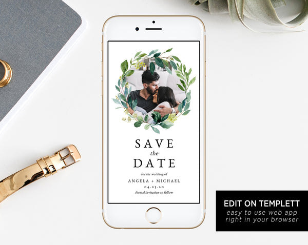 Greenery Electronic Save the Date Template, Mobile Save the Date with Picture, Phone Invite, Phone Photo Save the Date, Templett, W28