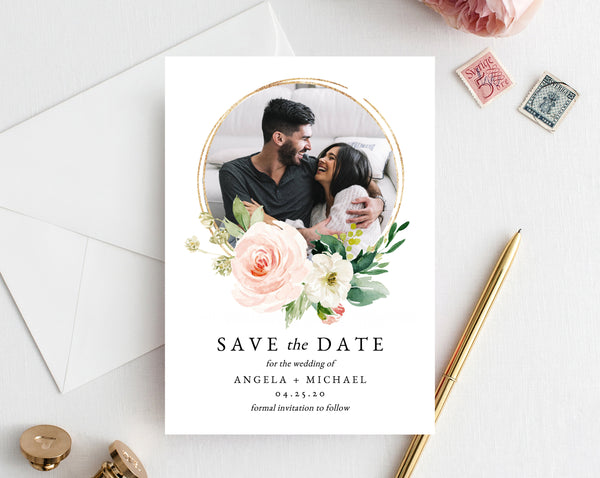 Blush Floral Save the Date Template, Printable Save the Date Photo Card, Editable Save Our Date Template Instant Download, Templett, W29