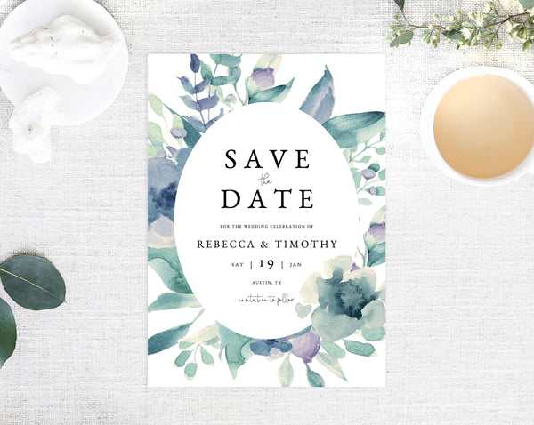 INSTANT DOWNLOAD Save the Date, Watercolor Greenery Save the Date Template, Save the Date, Blue and Purple Save the Date, Templett, W23