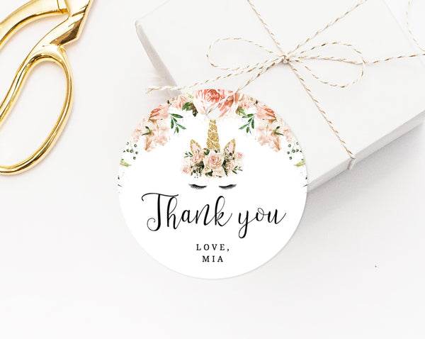 9a40b75e51e Unicorn Favor Tag Template, Thank You Tag, Unicorn Birthday Party Favor Tag,  Gift