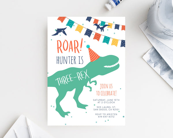 Dinosaur Birthday Invitation Template, Three-Rex Dinosaur Invite, Dinosaur Invite, T-Rex Birthday Invitation Digital File, Templett B12
