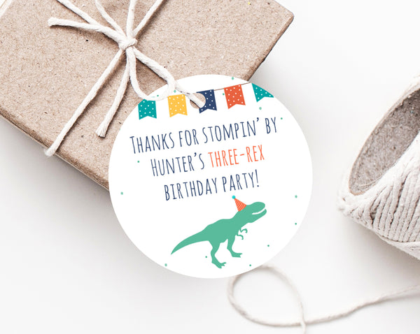 Dinosaur Birthday Party Favor Tag Template Three Rex Label Gift