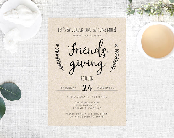 Friendsgiving Invitation Template, Printable Friendsgiving Potluck Invite, Editable Thanksgiving Invitation, Friendsgiving Dinner, Templett
