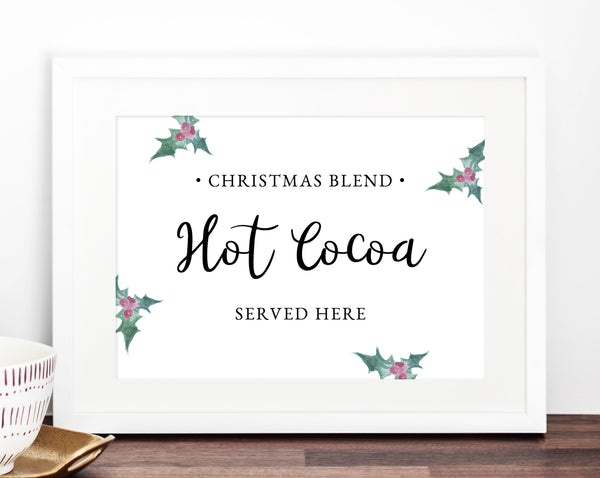 Christmas Hot Cocoa Sign, Printable Hot Chocolate Bar Sign, Holiday Party Sign Printable, Winter Wedding Signs, Templett