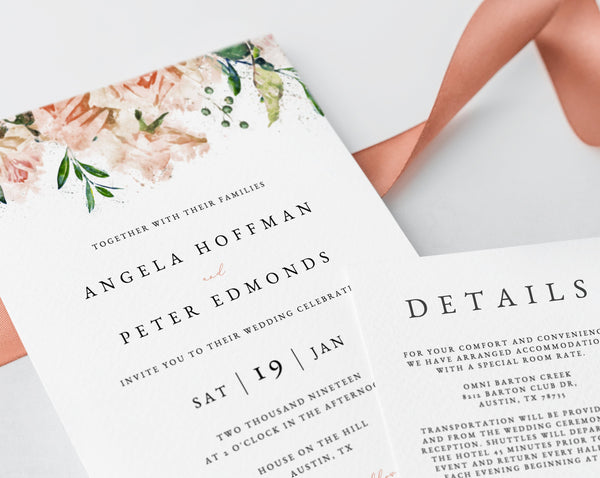 Wedding invitation template, Printable Wedding Invitation Suite, Blush Flowers Wedding Invitation Set, Floral Wedding, Templett, W22B