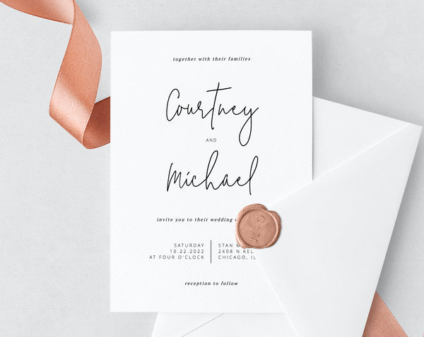 photo relating to Printable Wedding Card identified as Wedding day invitation template, Printable Marriage Invitation Suite, Easy Marriage ceremony Invitation Preset, Invites, Templett, W13