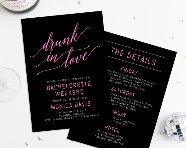 Drunk In Love Bachelorette Invitation Template, Printable Bachelorette Party Invite, Bachelorette Itinerary, Editable Template, Templett