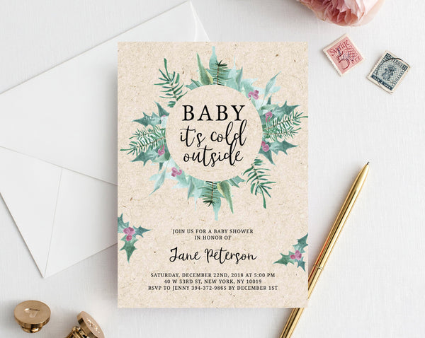 Christmas Baby Shower Invitation Template, Printable Christmas Baby Shower Invitation, Winter Holiday Baby Shower Invitation, Templett