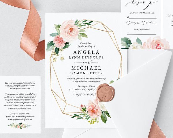 Wedding Invitation Template, Printable Wedding Invitation Suite, Blush Flowers Wedding Invitation Set, Floral Wedding, Templett, W29