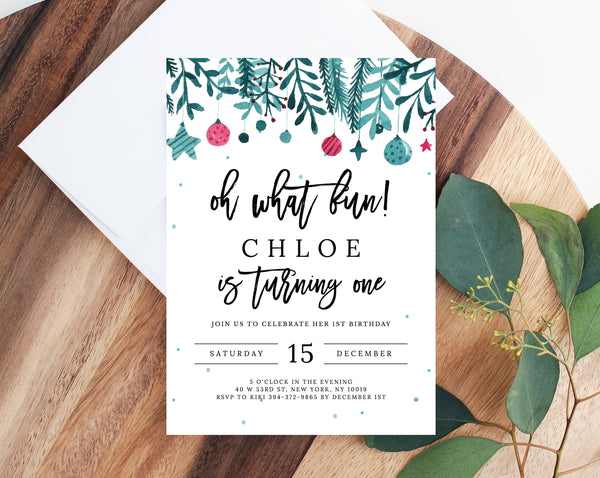 Oh What Fun 1st Birthday Invitation Template, Printable Christmas Birthday  Invitation, Winter Holiday Birthday Invitation, Templett