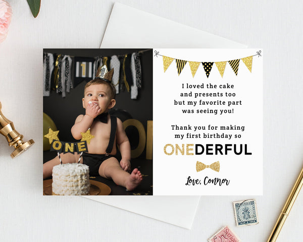 INSTANT DOWNLOAD Mr. Onederful Thank You Card Template, Thank You Photo Card, Mister One-derful Birthday Card, First Birthday, Templett, B02