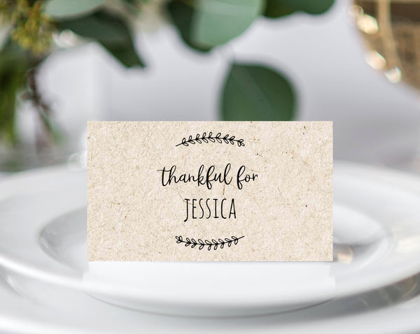 Friendsgiving Place Cards, Thanksgiving Dinner Seating Card, Friendsgiving Dinner Cards, Printable Thanksgiving Table Decor, Templett