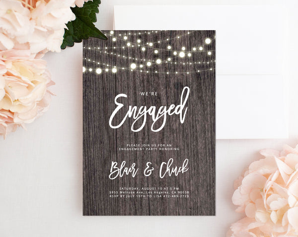 Engagement Party Invitation Template, Rustic Printable Engagement Invitation, Engagement Invite, Editable Template, Templett, W01