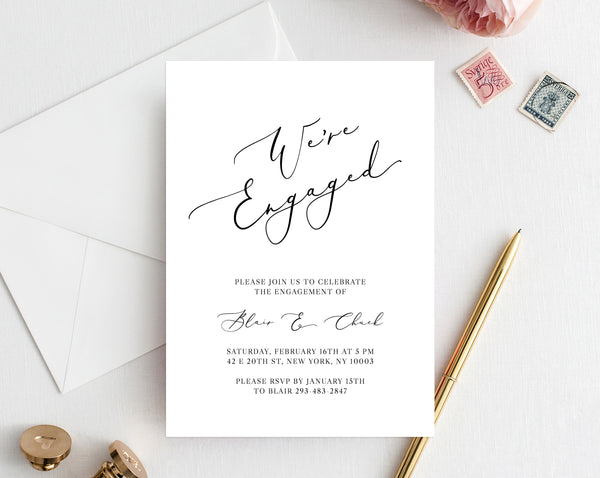 Engagement Party Invitation Template Printable Were Engaged Invite Editable Templett