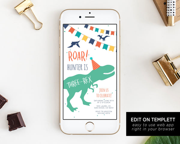 Dinosaur Birthday Electronic Invitation Template, Three-Rex Birthday Mobile Invite, T-Rex Phone Invitation, Instant Download, Templett, B12