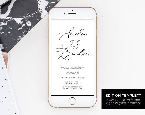 Engagement Party Electronic Invitation Template, Engagement Phone Invitation, Engagement Party Mobile Invite Template, Templett, W30