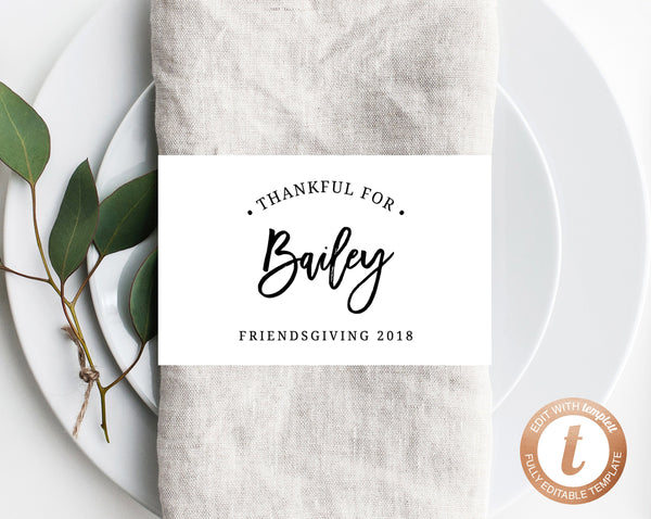 image relating to Thankful Printable identified as Thanksgiving Napkin Ring Template, Printable Thanksgiving Location Playing cards, Grateful For Vacation spot Playing cards, Editable Template, Friendsgiving, Templett