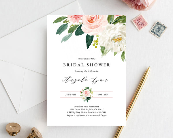 Bridal Shower Invitation Template, Printable Bridal Shower Invite, Blush Floral Bridal Invitation, Bridal Shower Invites, Templett, W29