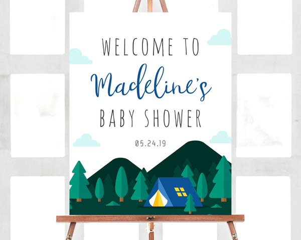 Adventure Baby Shower Welcome Sign Template, Camping Welcome Sign, Printable Camp Baby Shower Sign, Adventure Begins, Templett, B06