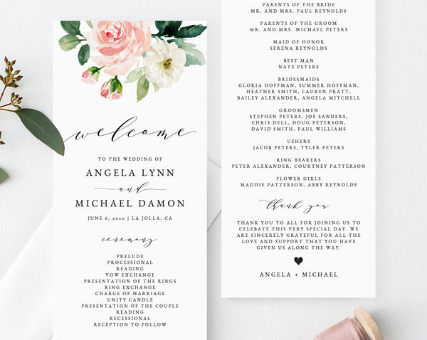 Floral Wedding Program Template, Printable Wedding Program, Blush Wedding Program, Editable Ceremony Programs, Instant, Templett, W29