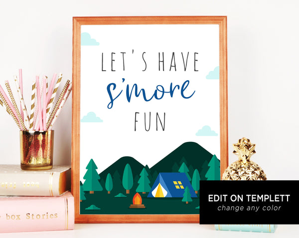 S'mores Bar Sign Printable, Adventure Begins Baby Shower S'mores Sign, S'more Fun, Party Smore, Templett, B06