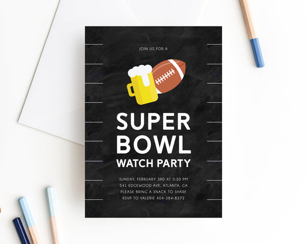 Super Bowl Watch Party Invite Template, Printable Super Bowl Party Invitation, Football Watch Party, Instant Download,  Templett