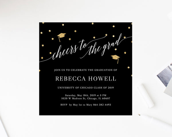 Graduation Party Invitation Template, Printable Graduation Party Invite, Black and Gold Graduation Invitation, Instant Download, Templett
