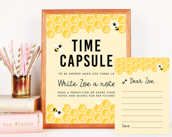Bee Day Time Capsule Sign Template, Printable Bee Day Time Capsule, Editable First Birthday Time Capsule With Matching Cards, Templett