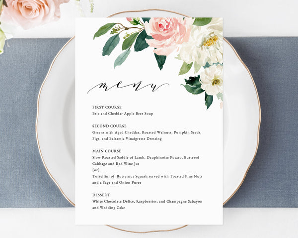 Wedding Menu Template, Printable Floral Menu, Editable Wedding Menu, Blush Wedding Menu, DIY Wedding Menu, Templett, Instant Dowload, W29