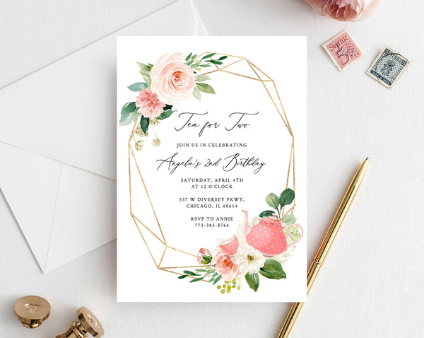 tea for two birthday invitation template printable tea party invitation gold and pink tea party birthday invitation editable templett