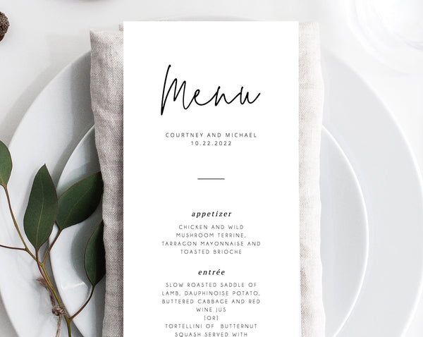 INSTANT DOWNLOAD Wedding Menu Template, Printable Menu, Editable Wedding Menu, Modern Wedding Menu, DIY Wedding Menu, Templett, W13