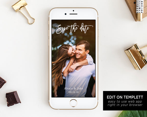 Electronic Save the Date Template, Mobile Save the Date, Phone Invite, Phone Save the Date, Editable Template, Templett
