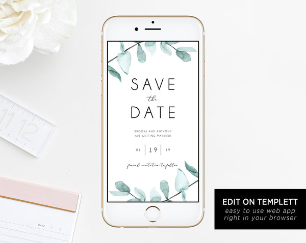 Electronic Save the Date Template, Mobile Save the Date, Phone Invite, Greenery Phone Save the Date, Editable Template, Templett, W21