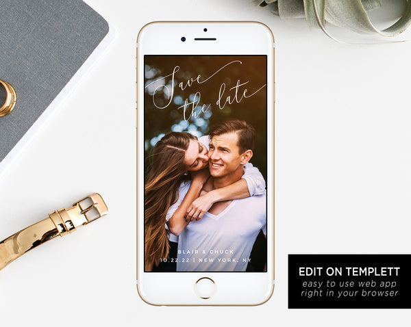 Electronic Save the Date Template, Mobile Save the Date, Phone Invite, Phone Save the Date, Editable Template, Templett, W15